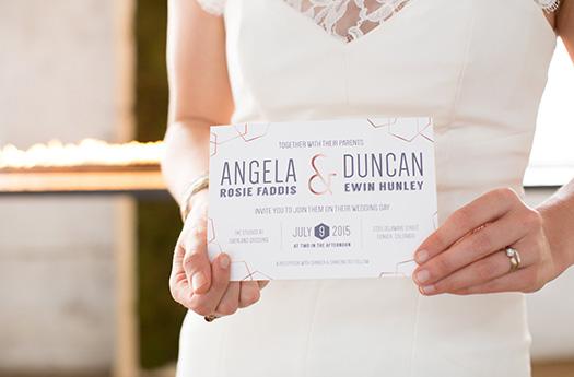 Geometric Copper Wedding Invitation