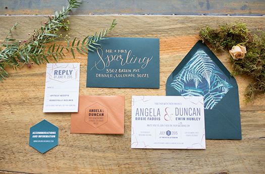 Moss Copper Wedding Invitation Suite