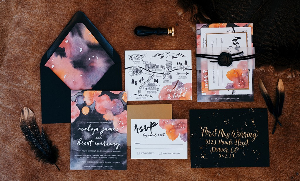 Dark Watercolor Invitation Boho Wedding