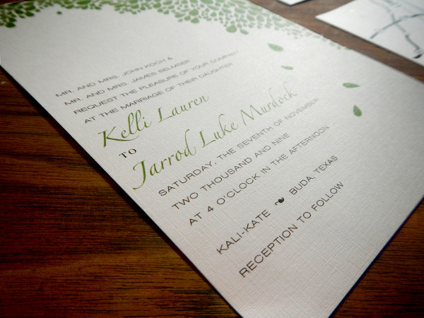 Kelli + Jarrod Austin Wedding Invitation Leaves Green