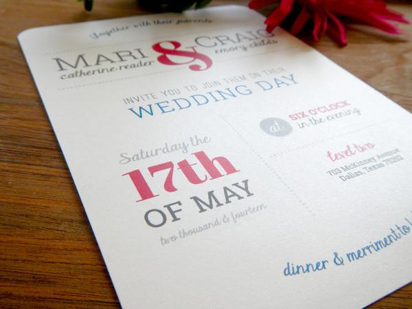 Colorful Wedding Invitation Dallas