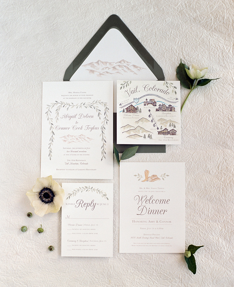 custom wedding invitations watercolor mountains green garland