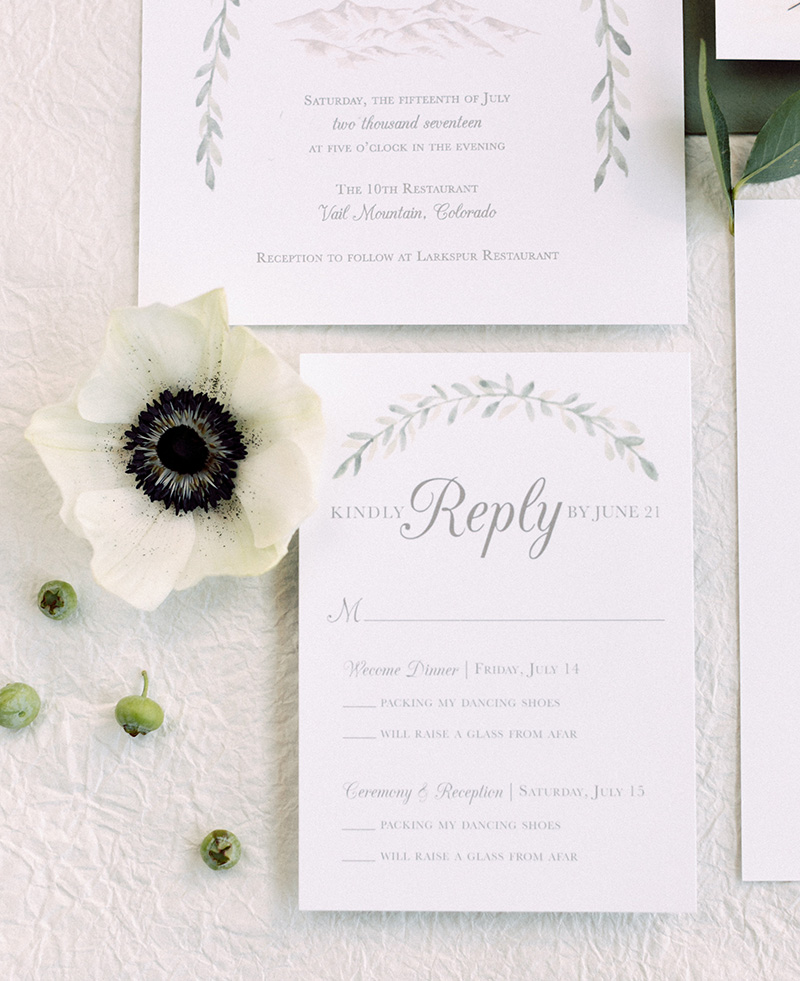 custom wedding invitations watercolor mountains green garland