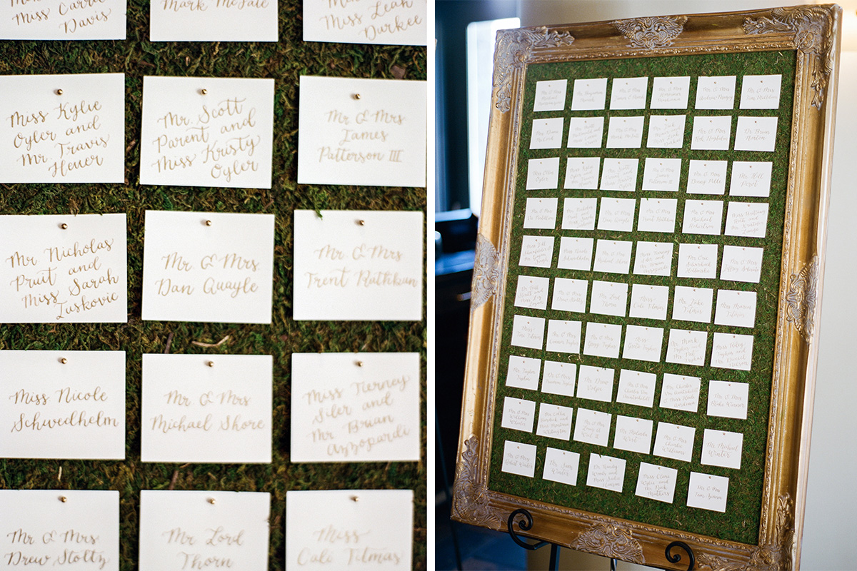 moss escort card display gold calligraphy