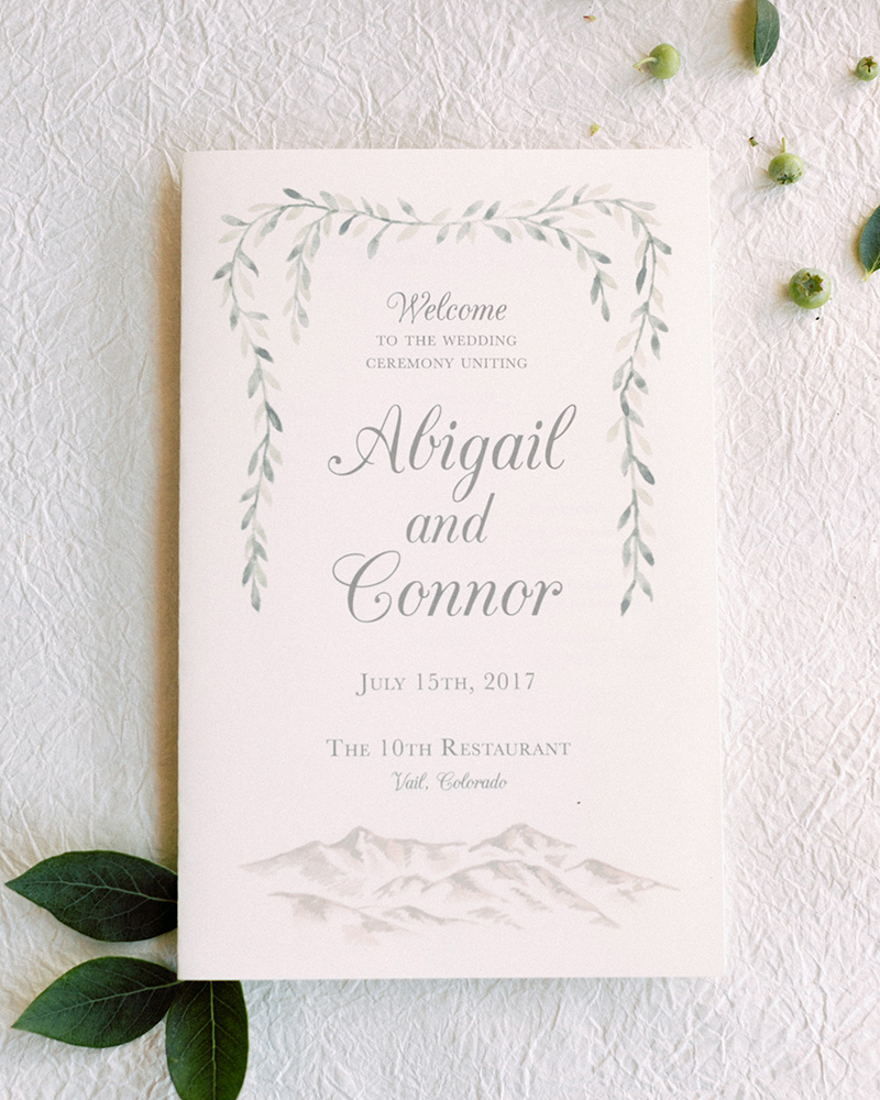 mountain wedding vail colorado ceremony program