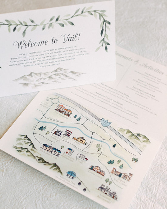 mountain wedding vail colorado welcome bag map
