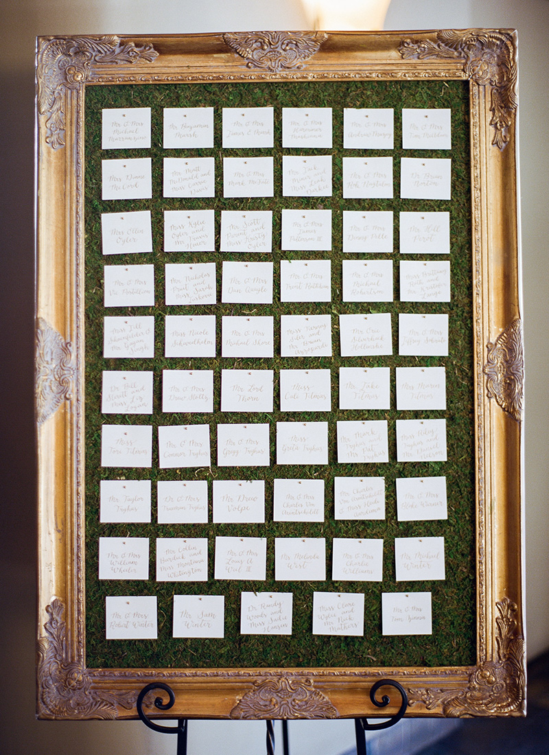 gold frame moss escort cards display