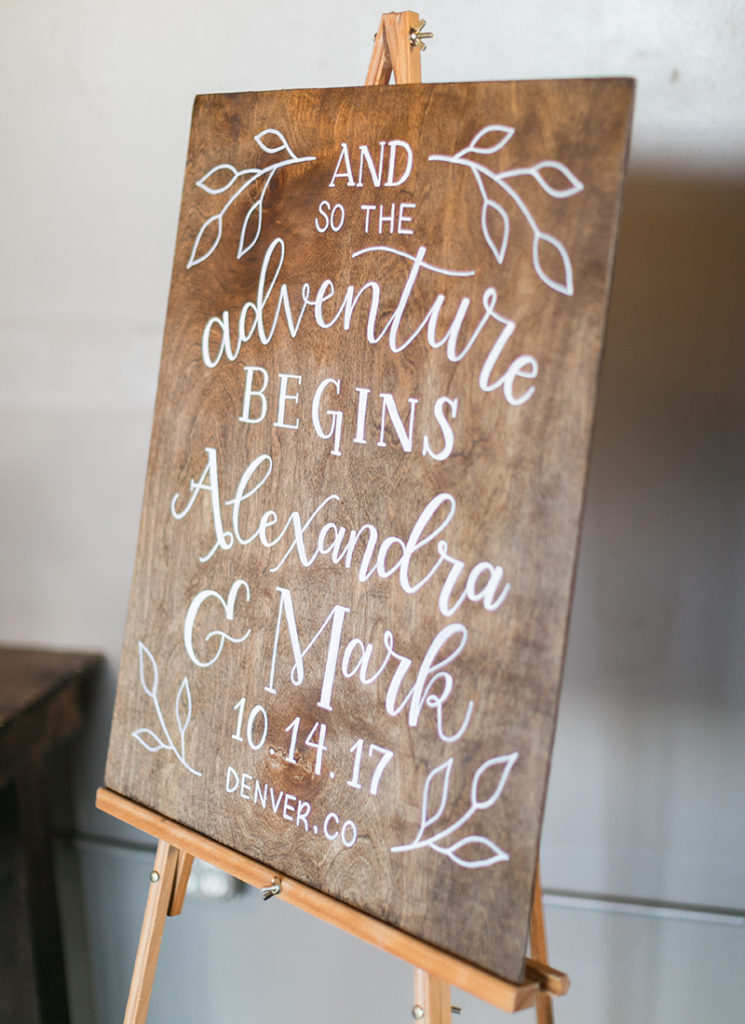 Wood Wedding Welcome Sign - hand lettering - and so the adventure begins