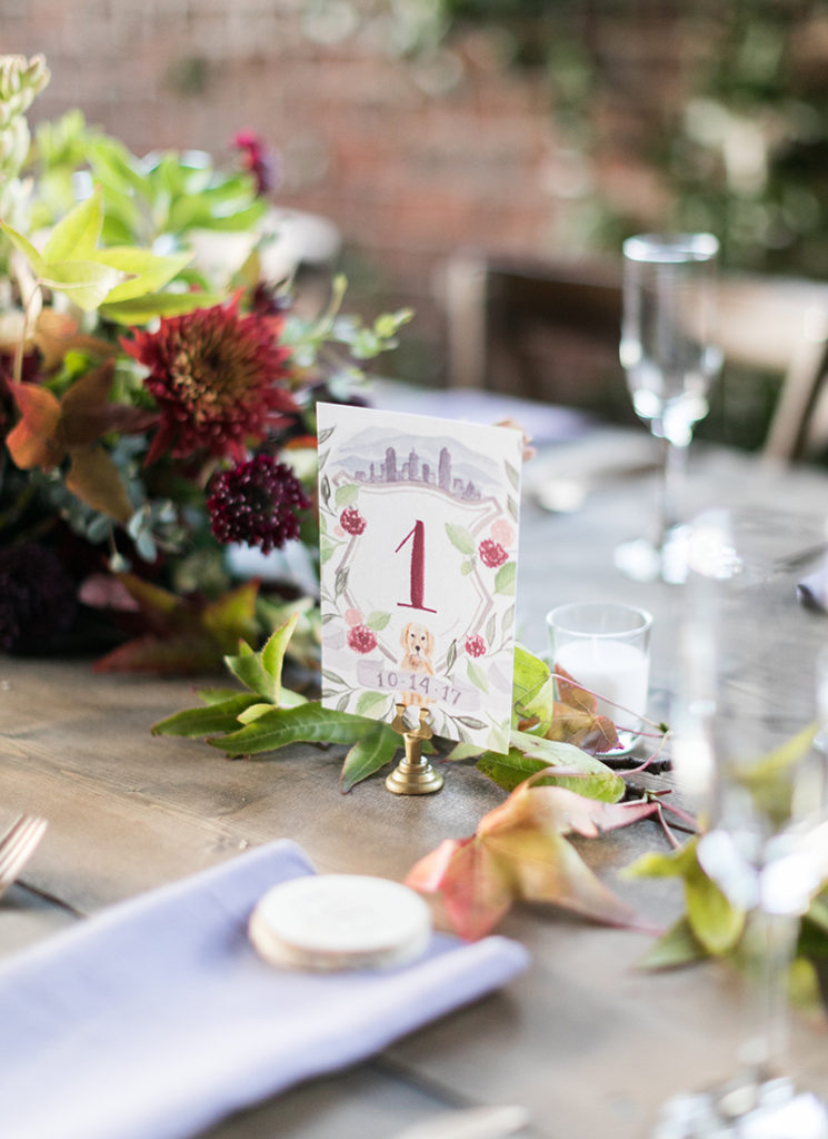 Custom Watercolor Wedding Crest with Dog Table Numbers