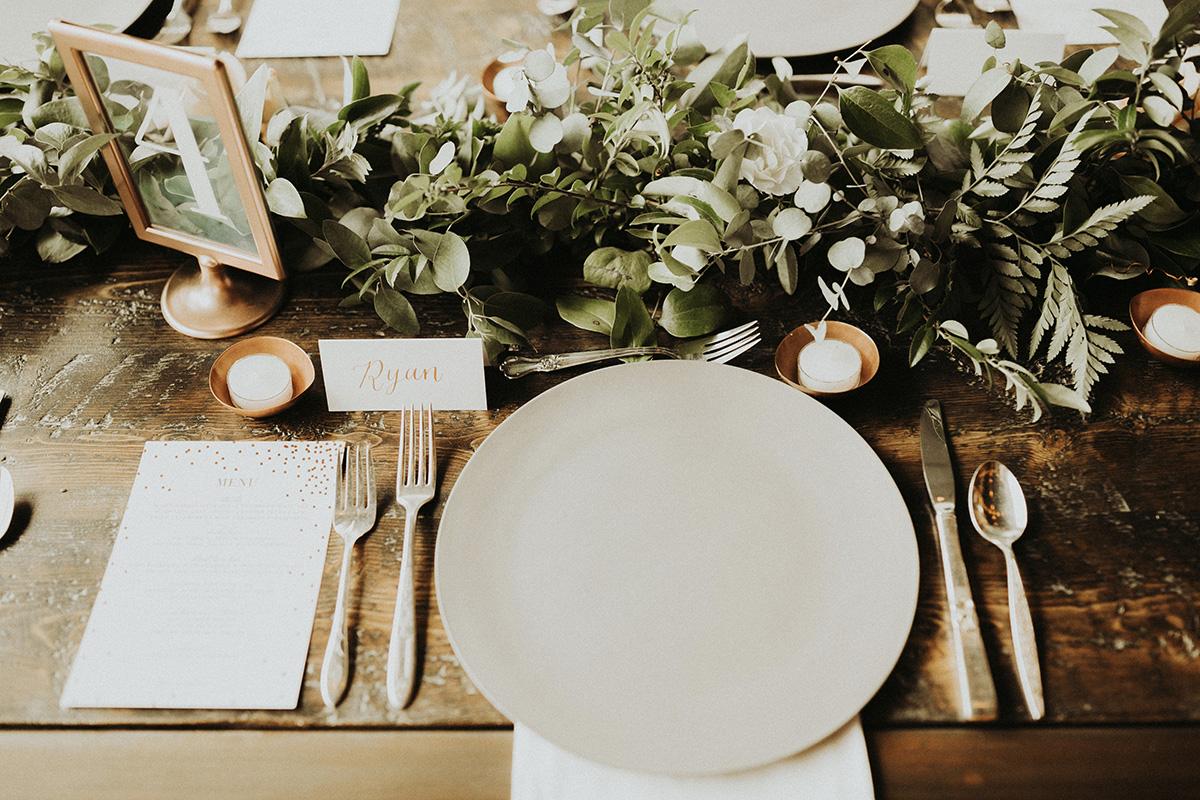 Urban Denver Wedding tablescape gold calligraphy place card
