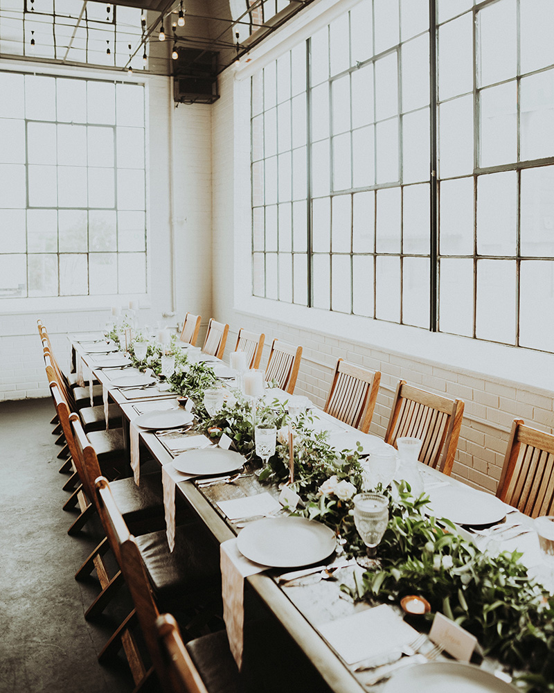 Urban Denver Wedding tablescape