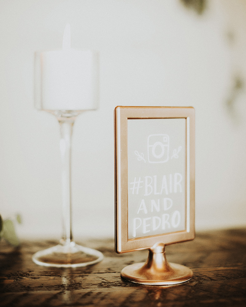 wedding hashtag sign gold frame acrylic