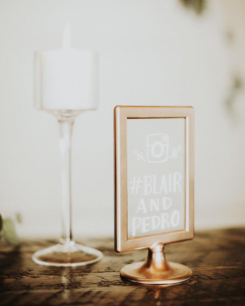 wedding hashtag sign gold frame acrylic