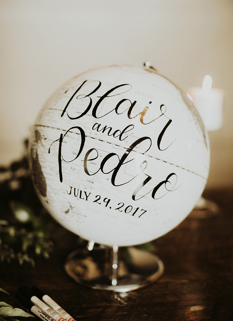 wedding signs black and white globe guest book