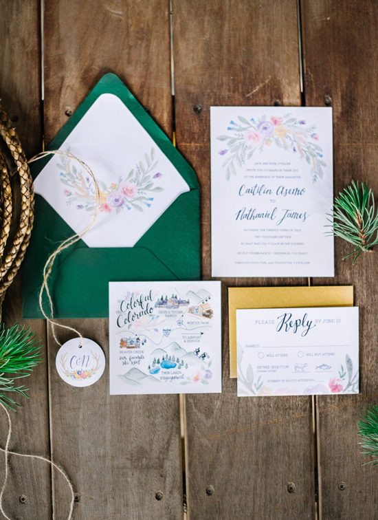 rustic colorado wedding invitation suite