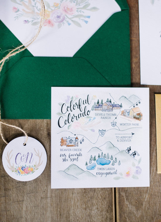 colorful colorado wedding map