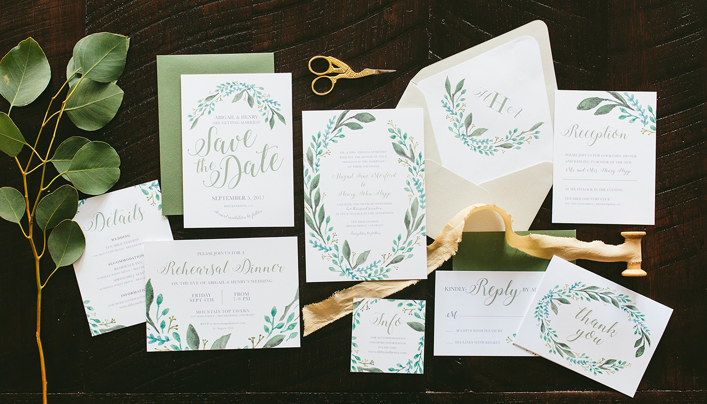 leafy greenery wedding invitation set