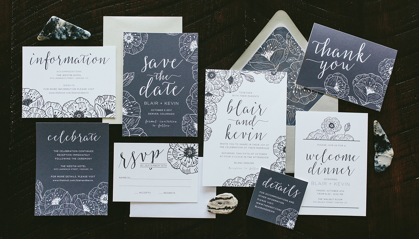 modern black and white flowers wedding invitations