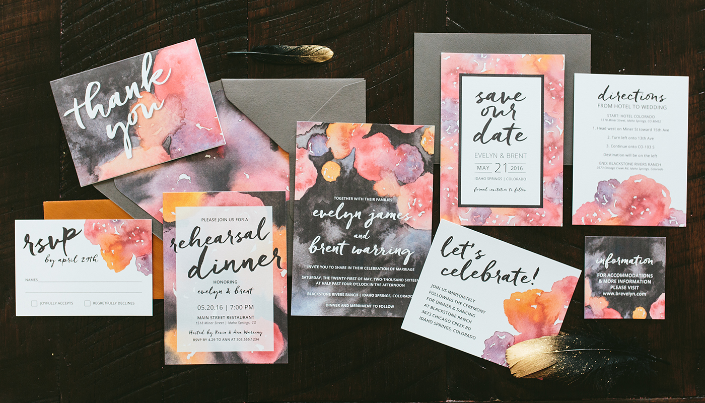 dark boho wedding invitation