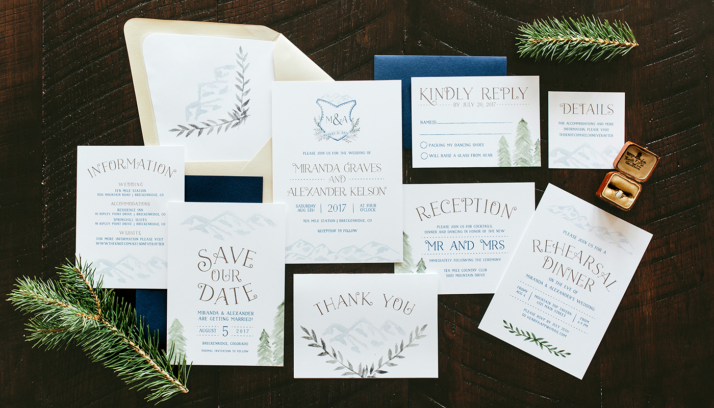 rustic mountain wedding invitations with painted crest