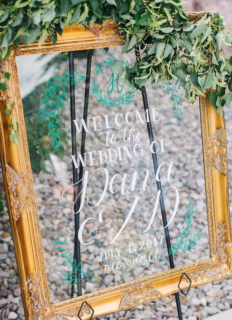 acrylic wedding welcome sign in gold frame