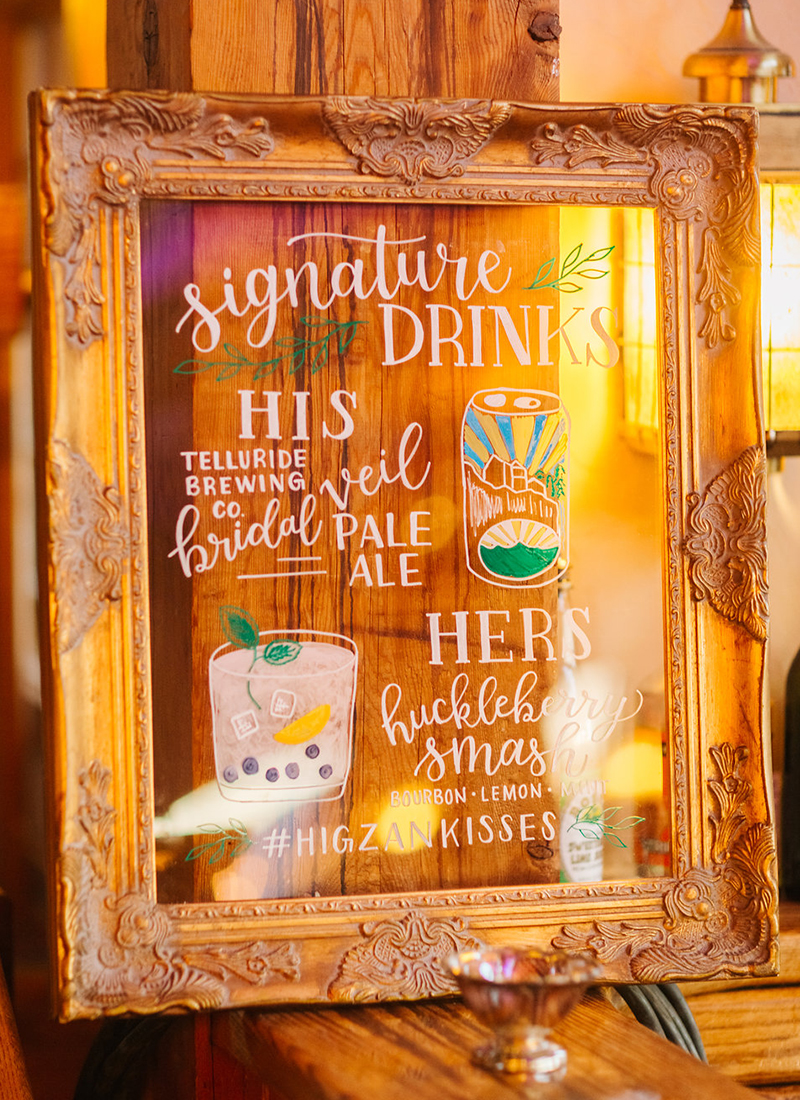 illustrated signature drink wedding bar sign