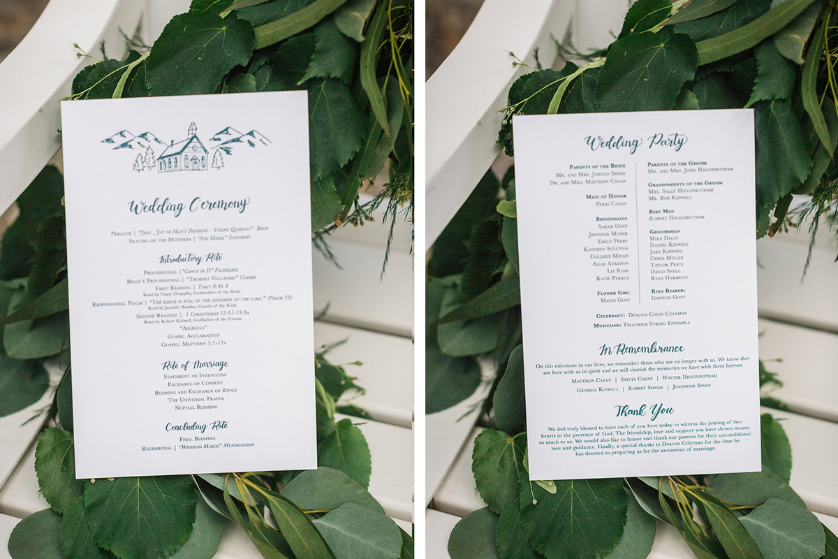wedding ceremony program illustrated emerald green