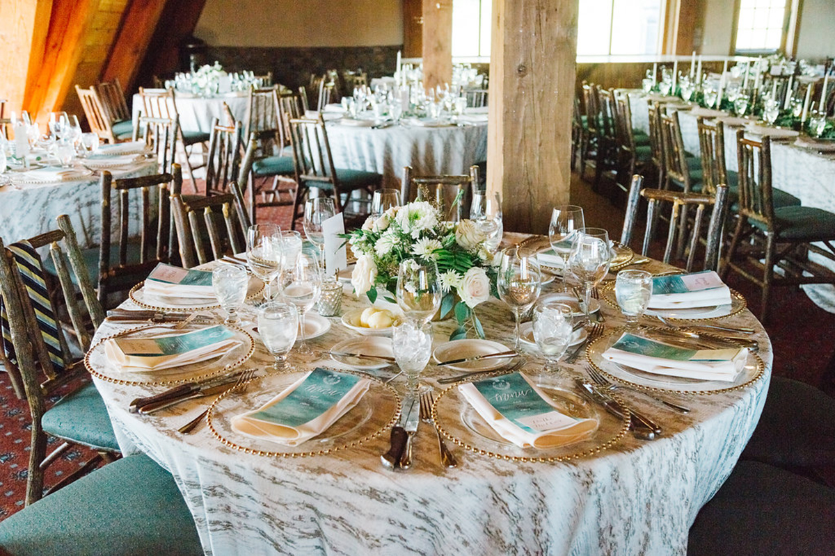 mountain lodge wedding emerald green and blush