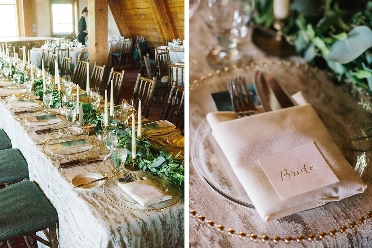 Chalet Chic wedding emerald green and blush with gold calligraphy