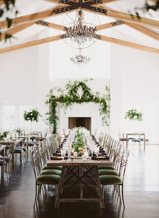 greenery garland mantel wedding