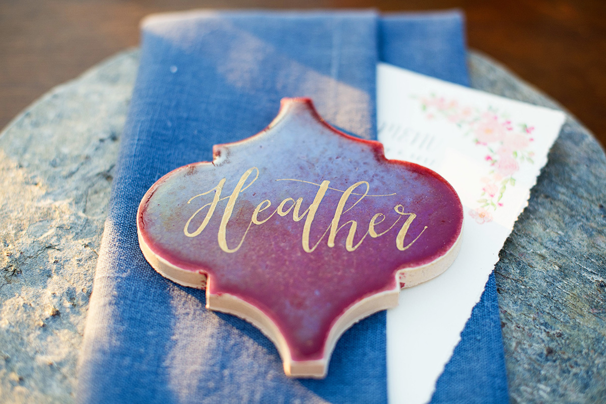 Burgundy Tile Place Cards with Gold Calligraphy