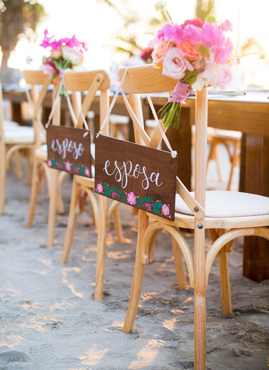 "Hand Painted Esposo Esposa ""husband"" and ""wife"" wooden chair signs - Mexico destination wedding"