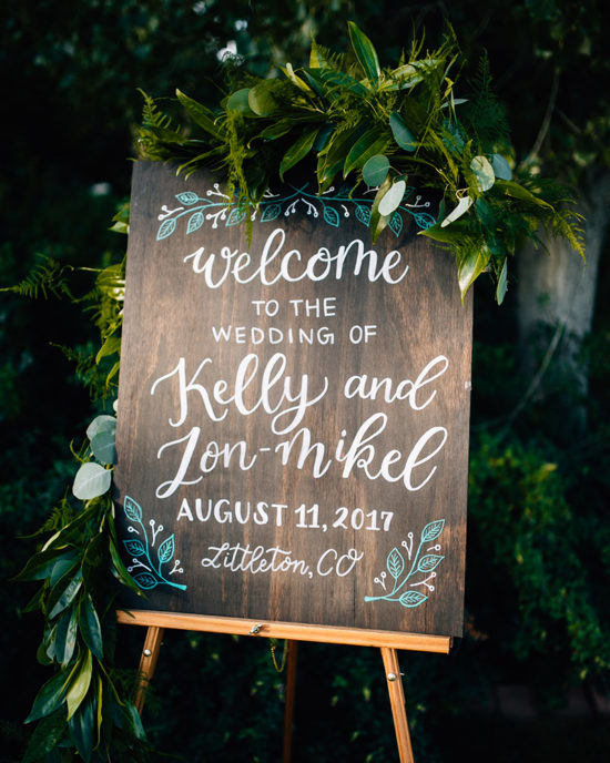 Hand painted dark wooden wedding welcome sign, farm wedding