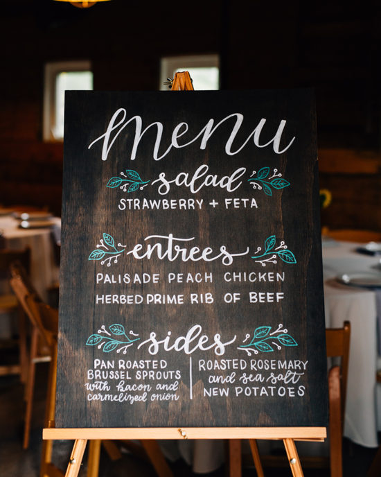 Buffet menu for wedding reception - hand painted , hand lettering on dark wooden wedding sign