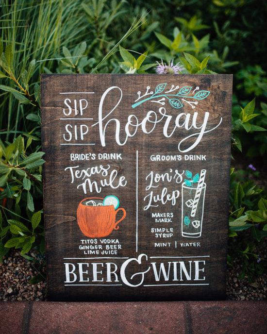 Bride & Groom's illustrated Signature Drinks bar menu for wedding reception - hand painted on wooden wedding sign