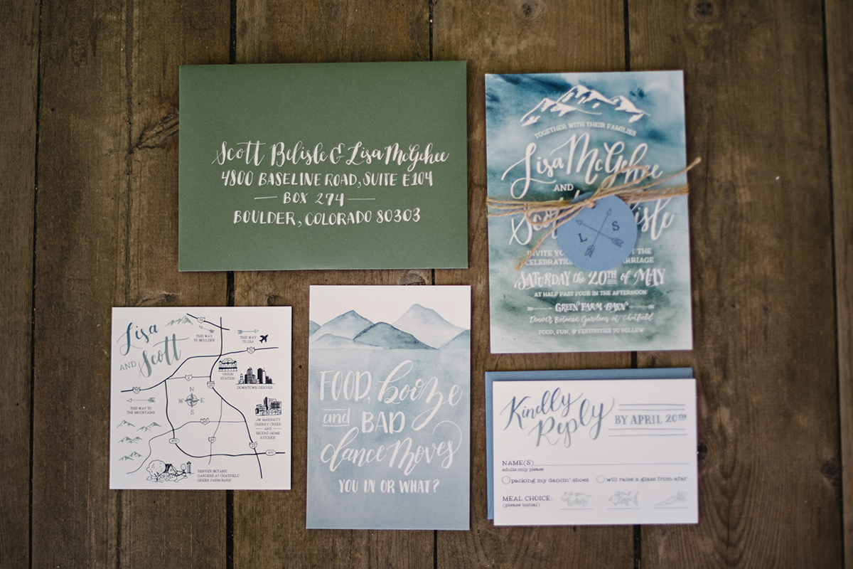 eclectic hand lettered watercolor wedding invitaitons
