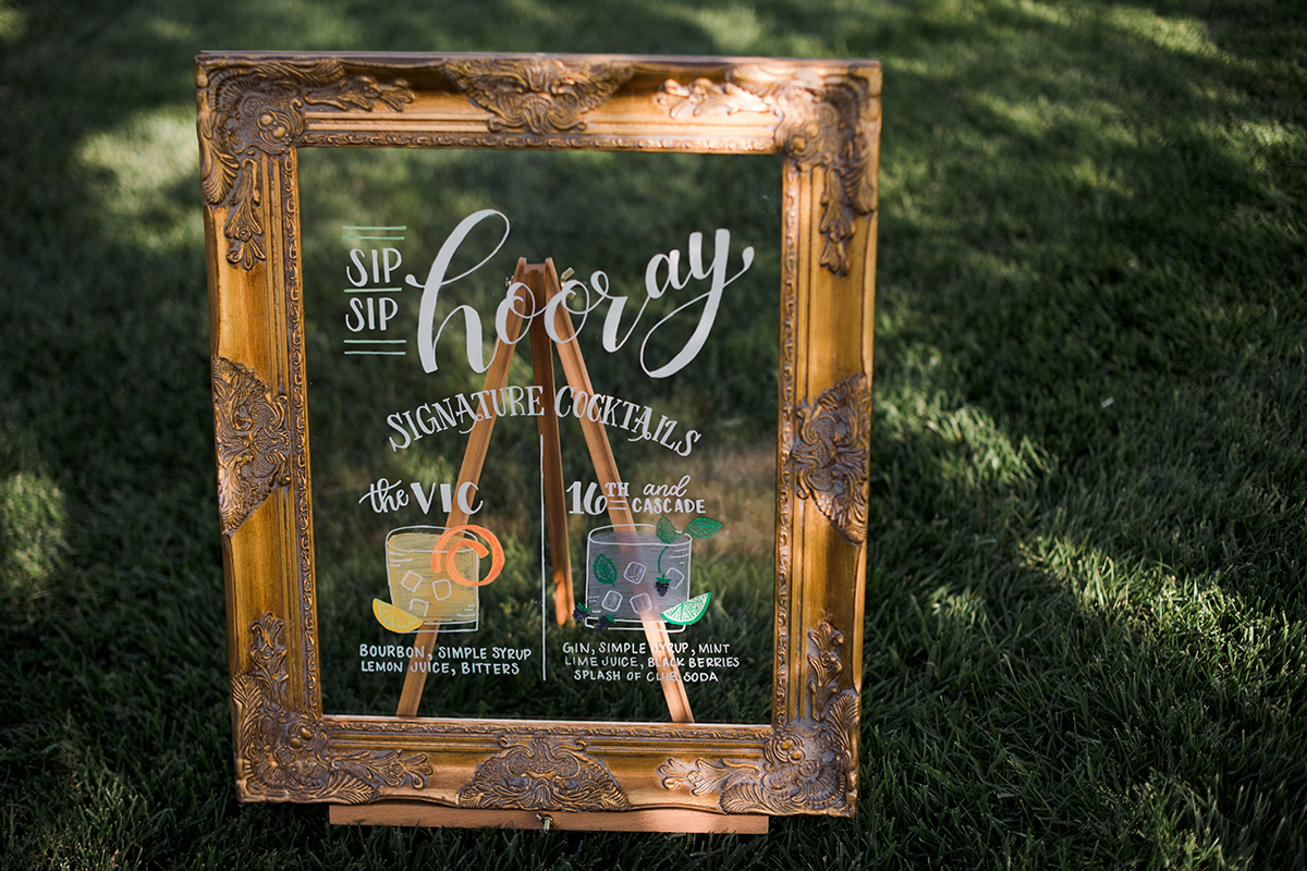 illustrated signature cocktails sign