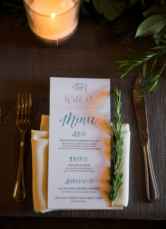 hand lettered menu and calligraphy place card