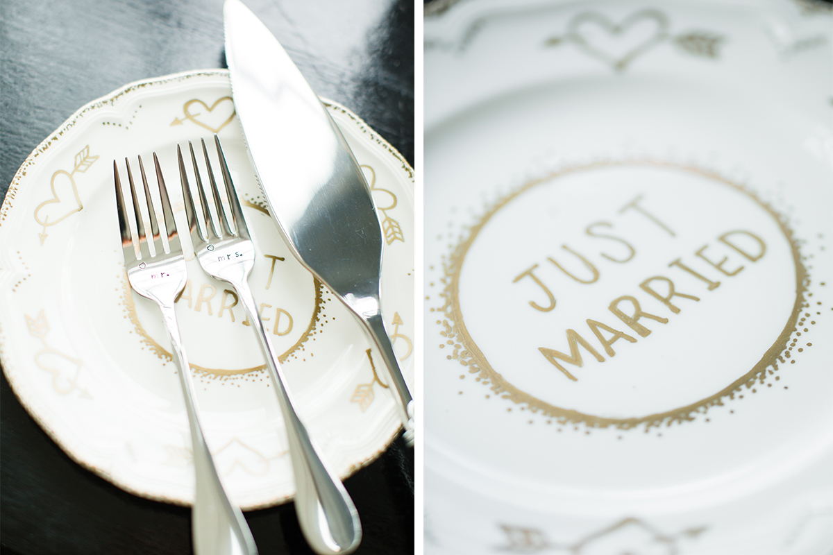 just married dessert plate hand painted