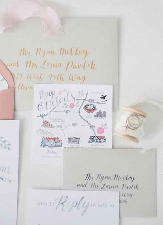 painted custom wedding map
