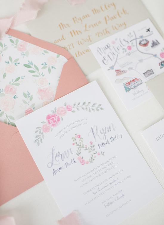 painted flowers wedding invitations