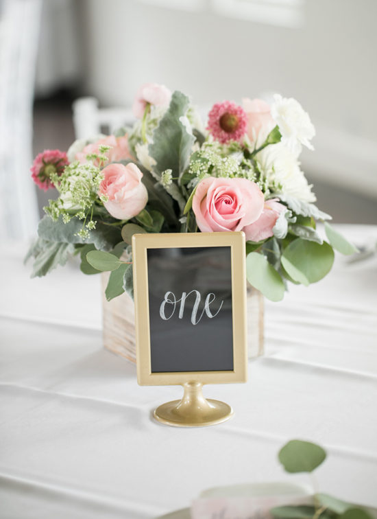 chalkboard table numbers gold frame