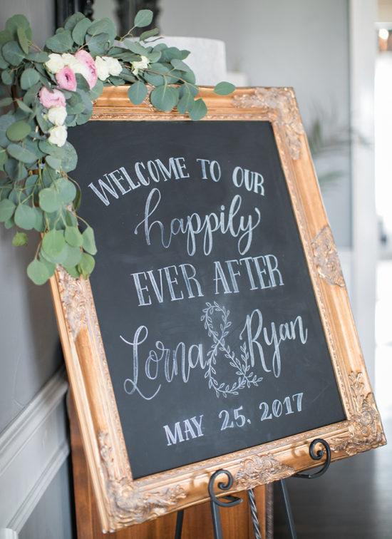 wedding welcome sign chalkboard gold frame