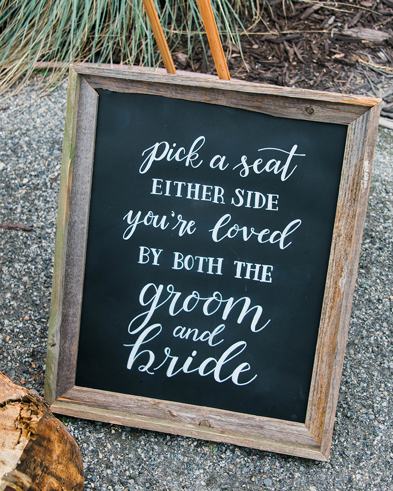 pick a seat either side chalkboard sign in rustic frame