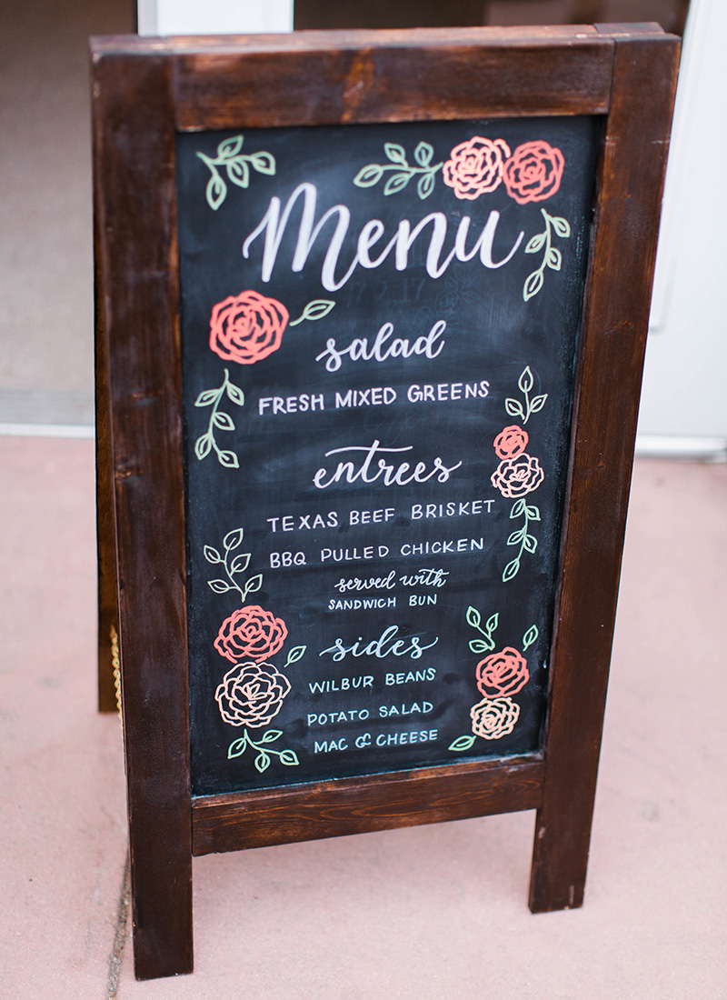colorful chalkboard menu wedding sign buffet