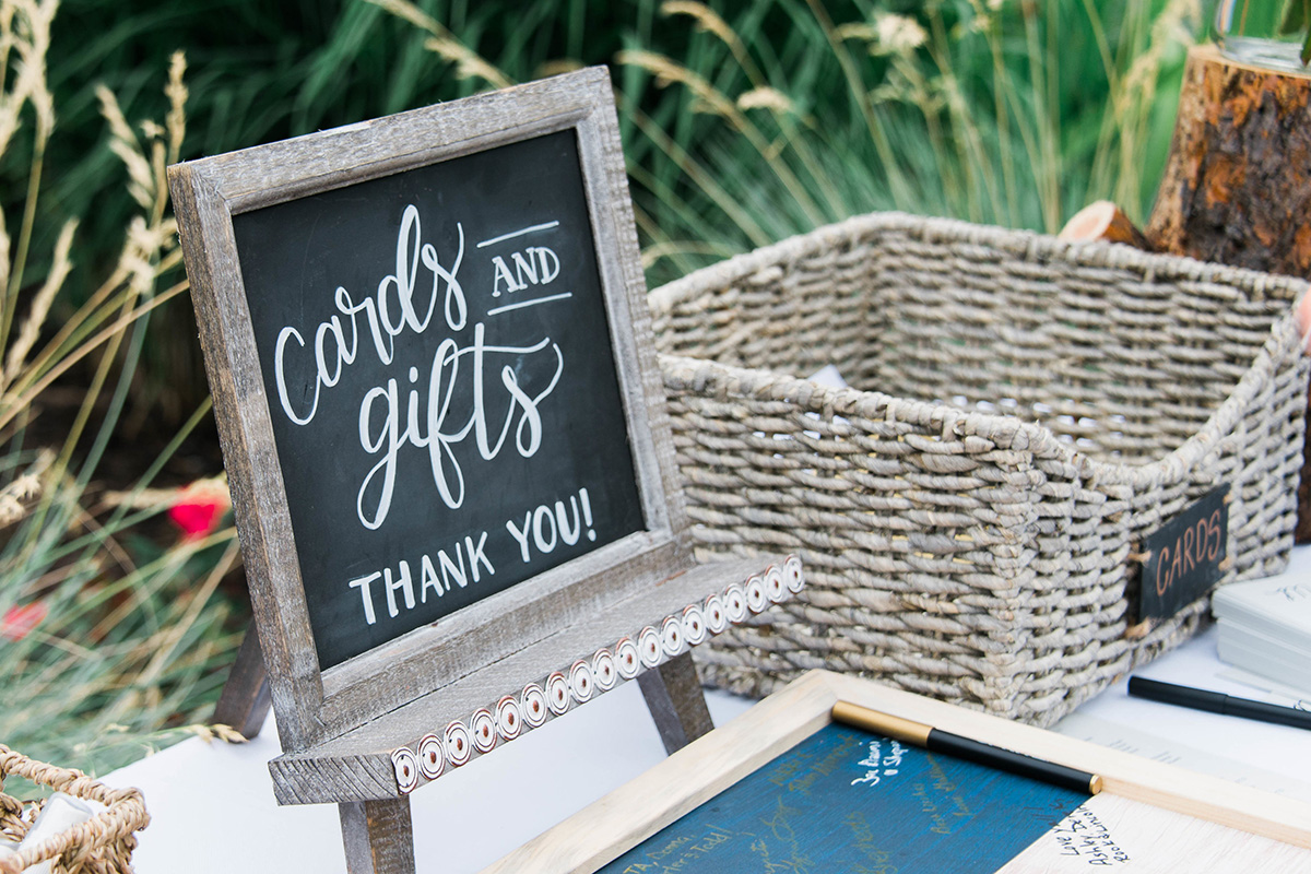 chalkboard wedding sign cards and gifts