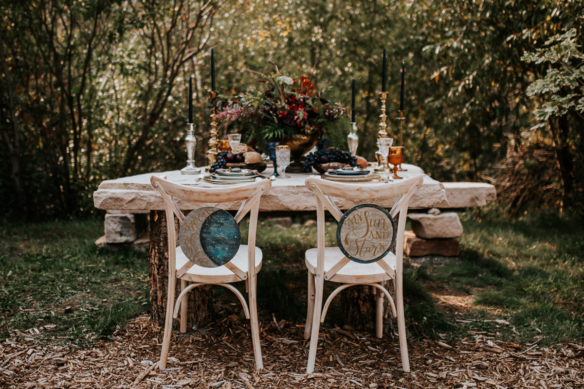 Celestial Game of Thrones Wedding Inspiration - Moon of My Life and My Sun and Stars chair back wedding signs - feast table