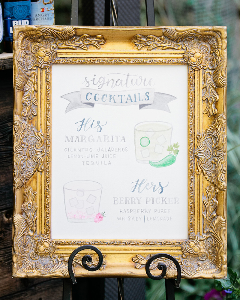 watercolor his and hers signature cocktails wedding bar menu