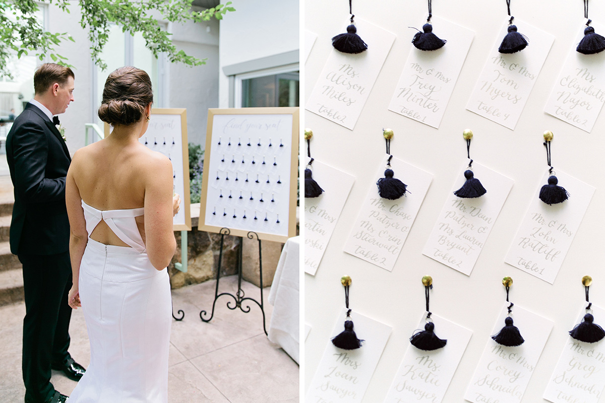 find your seat seating chart tassel escort cards gray calligraphy