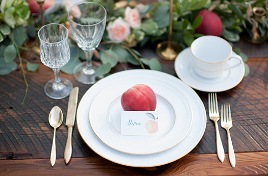 Peach Wedding Place Card